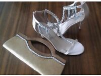 NEXT Party Wedding Pink Blush blingy diamond ankle chain heels size 6 New with free gift