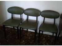 3 X Green Leather Effect Soft Cover Dining Room Chairs