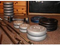 Cast iron weights & 3 bars