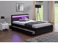 BLACK DOUBLE SIZE, LED COLOUR CHANGING LEATHER STORAGE BED **FREE DELIVERY UPTO 50 MILES**