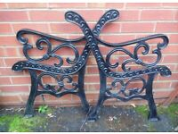 (#598) vintage pair of garden cast iron bench ends (Pick up only, Dy4 area)