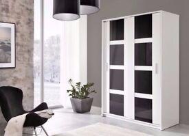 Brand New Modern Style Luxury Sliding Door Large High Gloss Wardrobe Storage White/Black