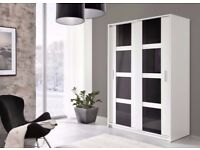 Brand New Modern Style Luxury Sliding Door Large High Gloss Wardrobe Storage White/Black