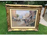 Large Vintage Oil Painting 19th Century Italian Market