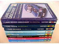 VARIOUS HAYNES MANUALS - LAND ROVER, MINI, FIESTA, GOLF, MEGANE, CLIO, ESPACE, MONDEO. £8 EACH ONO