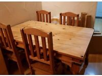 Oak Spanish style effect table and 4 chairs