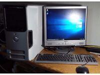 "DELL DIMENSION Dual core system. Windows 10 Pro. MS Office. 17"" LCD monitor. 200gb HD. 3gb RAM"