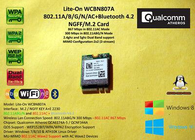 M.2 NGFF Wlan 802.11AC 867mbps Qualcomm Atheros  QCA6174A Bluetooth 2.4/5Ghz