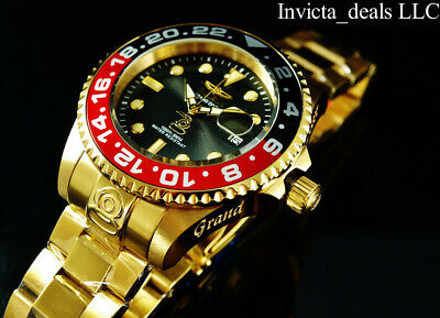 Invicta Mens 47mm GRAND DIVER AUTOMATIC CHARCOAL Dial 18K Gold Plated 300m Watch
