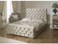 ***BRAND NEW DOUBLE MONACO CREAM/SILVER CRUSHED VELVET BED SET+ORTHOPAEDIC MATTRESS+FREE LOCAL DELIV