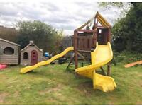 Wooden swing slide climbing frame very solid set