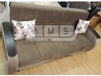 BRAND NEW TURKISH FABRIC STORAGE SOFA BED, 3 SEATER DOUBLE SLEEPER SETTEE - BLACK & BROWN COLOUR