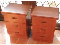 2 Retro Bedside Cabinets with 3 drawers