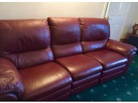 Burgundy Leather 3 Seater Recliner Sofa & Armchair - Excellent Condition