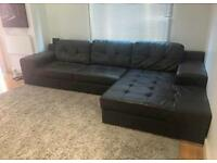 Dark brown habitat L shaped leather soft couch sofa - 2 years old