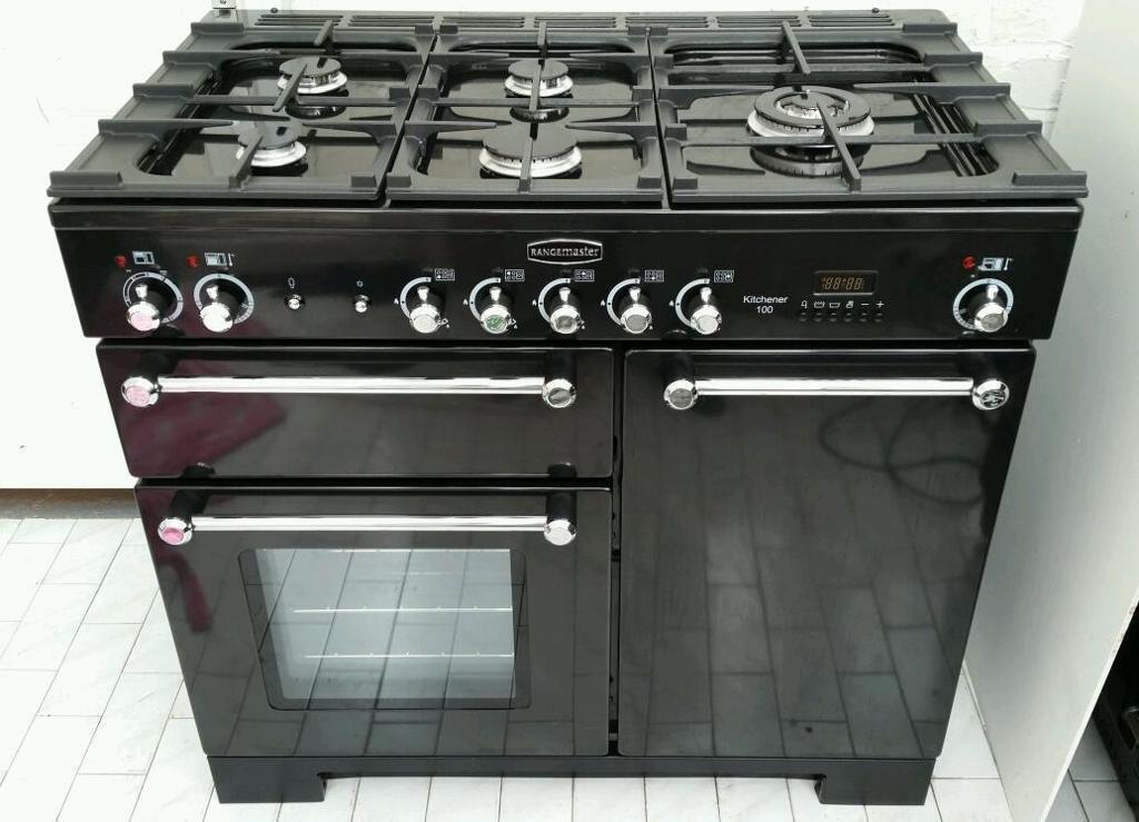 rangemaster kitchener 100 lpg dual fuel range cooker 100cm black in liverpool merseyside. Black Bedroom Furniture Sets. Home Design Ideas