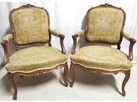 Pair French Walnut Arm Chairs circa 1870