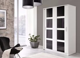 BRAND NEW HIGH QUALITY SLIDING DOOR LARGE WARDROBE WHITE/BLACK GLOSS MODERN STYLE***