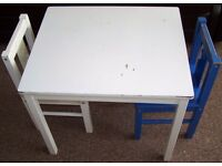 Children Wooden Table and 2 chairs, Age 2-7 years, White Table, White Chair and Blue Chair