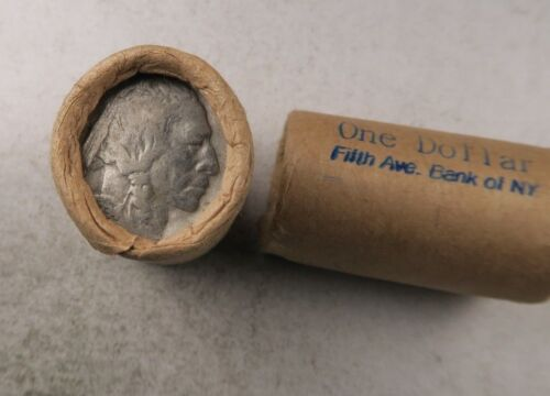 (1) Old Sealed Buffalo Nickel Half Roll // 20 Coins // Fifth Ave. Bank of NY
