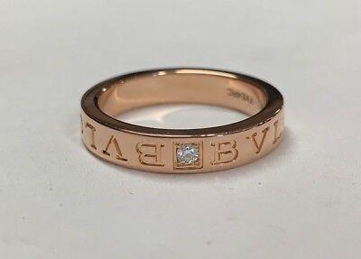 Bvlgari 18K Rose Pink Gold Diamond Band 341827 (Size 56) w/ Receipt