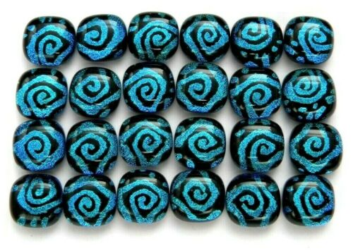 SPIRALS Lot 24 pcs square DICHROIC earring bracelet FUSED GLASS (D24) CABS