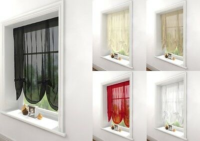 MODERN PLAIN KNOTTED TIE BLINDS AVON WINDOW VOILE NET SLOT TOP WINDOW DRESSING ()