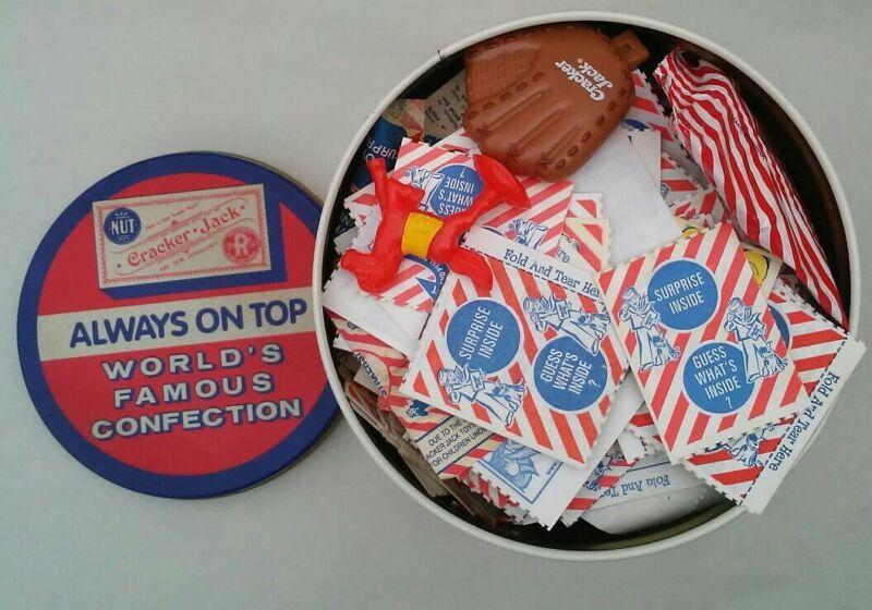 Vtg. 200+ Pcs. Cracker Jack Prizes And Tin Canister, NOS MOST SEALED FEW OPEN
