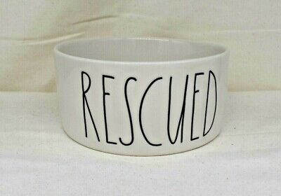 """RAE DUNN """"Rescued"""" Dog or Cat Food Bowl"""