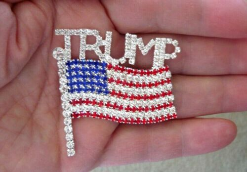 "New! Large 2"" ""TRUMP and American Flag"" Sparkling Rhinestone Pin, 2020 Election"