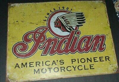 INDIAN MOTORCYCLE Since 1901 VINTAGE RETRO METAL TIN SIGN HOME DECOR BAR GARAGE