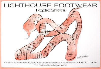 Original Poster Lighthouse Footwear Andy Warhol 1979 Fashion Snake Reptile Shoe