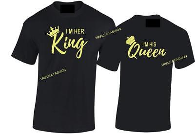 His & Her King and Queen CROWN T Shirt Valentines Day Gift Top Romantic Tee