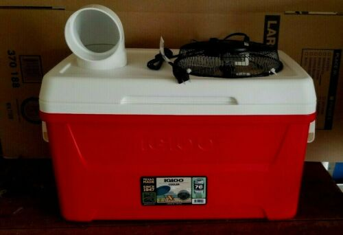 Onos XLG 48qt RED Portable Swamp Cooler Air Conditioner Home Camping 110vt Fan