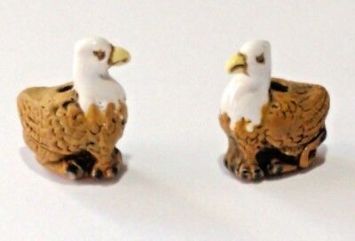 2 Peruvian Ceramic Mini Brown Griffin Earring Beads DIY Charm
