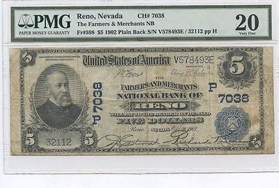 5 1902 Pb Farmers And Merchants National Bank Of Reno  Rare Nevada National