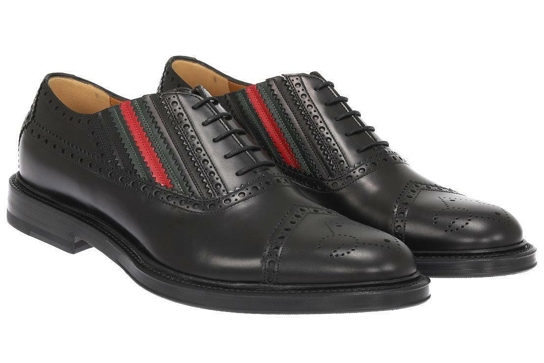 NEW GUCCI MEN'S BLACK WINGTIP WEB BEE SOLE OXFORD DRESS CASUAL SHOES 11/US 11.5