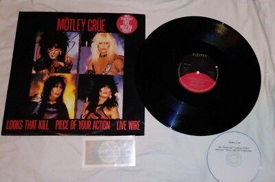 MOTLEY CRUE 12 inch SINGLE SIGNED NIKKI SIXX SHOUT AT THE DEVIL w/ Transfer, dvd