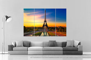 paris tour eiffel sunset couche de soleil wall art poster grand format a0 ebay. Black Bedroom Furniture Sets. Home Design Ideas