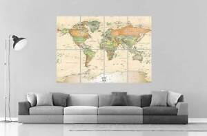 world map carte du monde wall art poster grand format a0. Black Bedroom Furniture Sets. Home Design Ideas