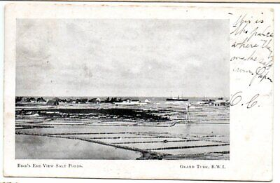 Turks Islands 1907? postcard of Bird's Eye View of Salt Ponds mailed to Canada