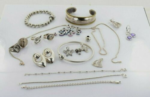 Jewelry Lot Sterling Silver  All Marked 126.3 g - Rings Bracelets Earrings ETC