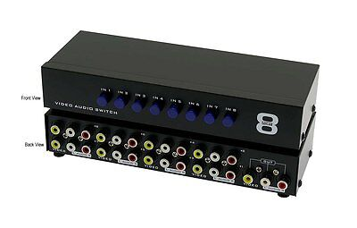 RCA 8X1 8 In 1 Out 8 Way Port 3-RCA AV Audio Video Switcher Switch Selector Box
