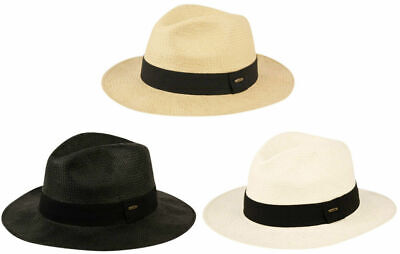Mens Panama Wide Brim Fedora Straw Hat Indiana Jones Style Summer Cool Hat