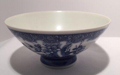 "Vintage Blue/White China Porcelain Rice Bowl 4-3/4"""