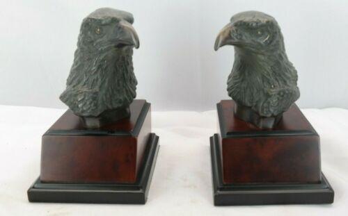 Cast Metal Bronze Finish Bald Eagle Head Bookends MT