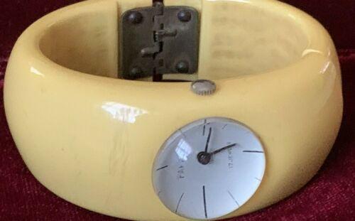 Vintage Art Deco Butterscotch  Bakelite Bangle Watch works