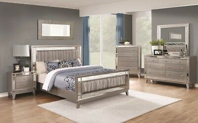 - Coaster Fine Furniture Leighton Queen Glam 6 Piece Leatherette Bedroom Set
