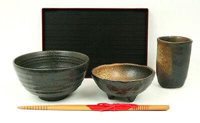 Japan Speiseset MINO 5er Set Reisschale Teebecher Schälchen Tablett Essstäbchen