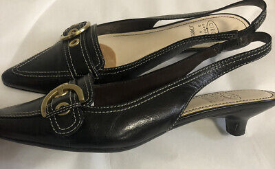 Black  Leather Kitten Heeled Slingbacks with buckle by Joan and David Circa sz 6